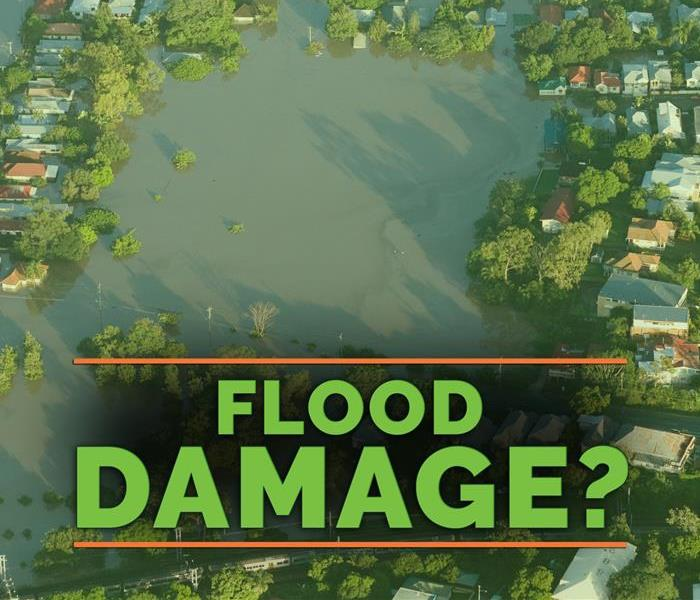 a background of a flood with the words flood damage